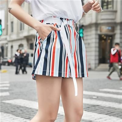 彩色竖条纹A字系带休闲裤